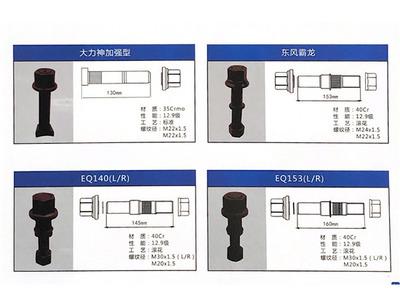 二汽东风系列高强度轮胎螺栓螺帽